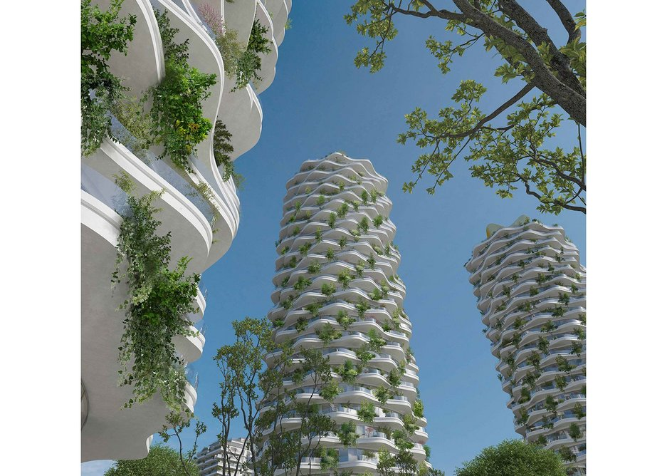 Proposed residential towers for the Žižkov district of Prague, Czech Republic, designed by AI DESIGN.