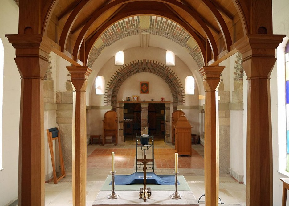 Looking back from the apse through the ciborium: all self-finished materials.