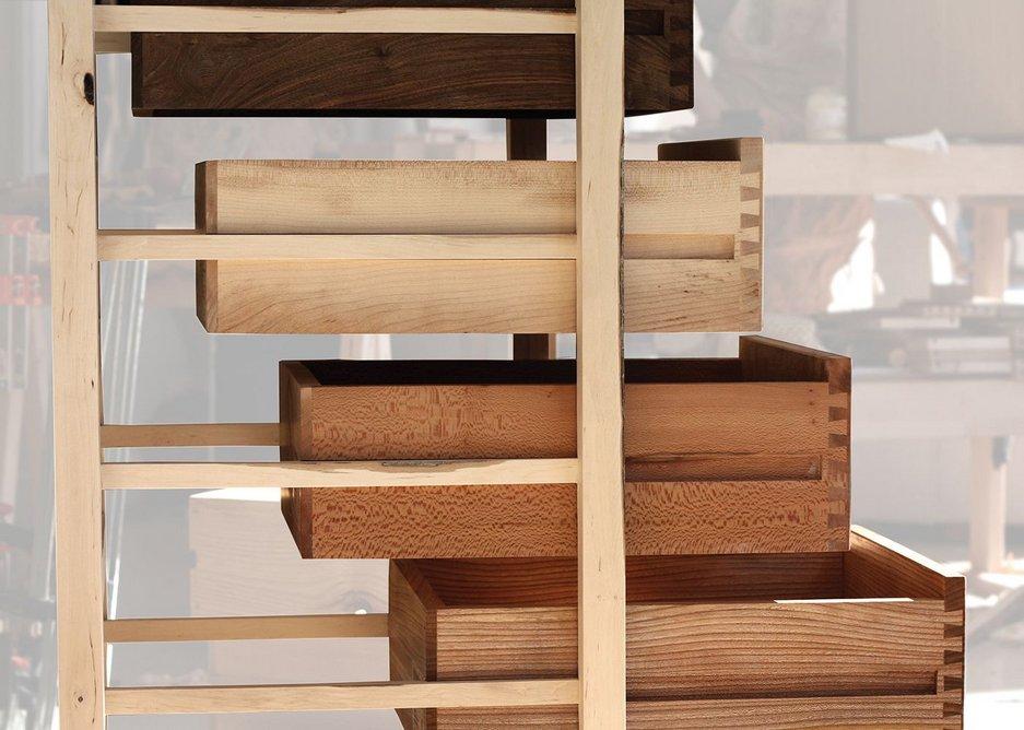 Ten Species Tallboy, Sebastian Cox Furniture. Timber: English Hardwoods: oak, ash, elm, chestnut, London plane, sycamore, cherry, walnut, brown oak, beech and hazel.
