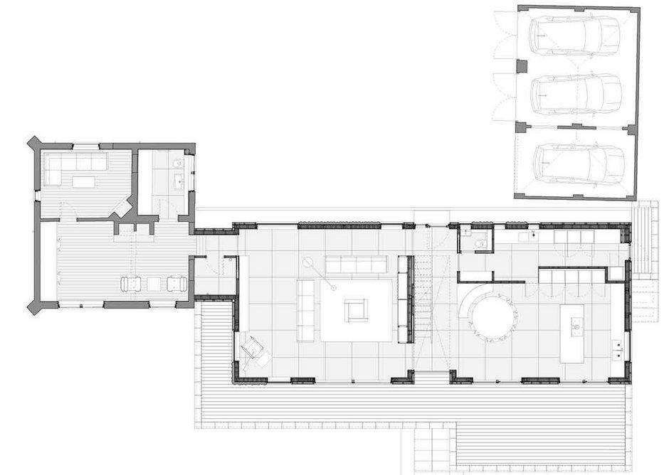 Ground floor plan of Cherry Tree House, designed by Guttfield Architecture.