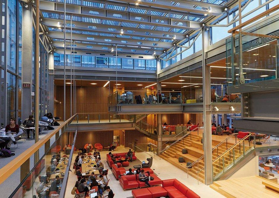 The triple height, skylit Harvard Commons replaced Holyoke Pavilion.