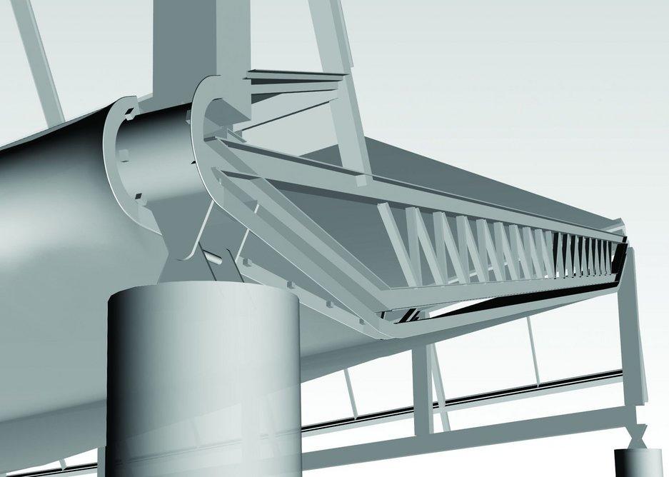 Detail at column/bullnose/rooflight interface