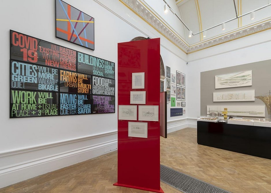 Royal Academy Summer Exhibition 2020 installation image with Norman Foster's Covid-19 Message to the left.