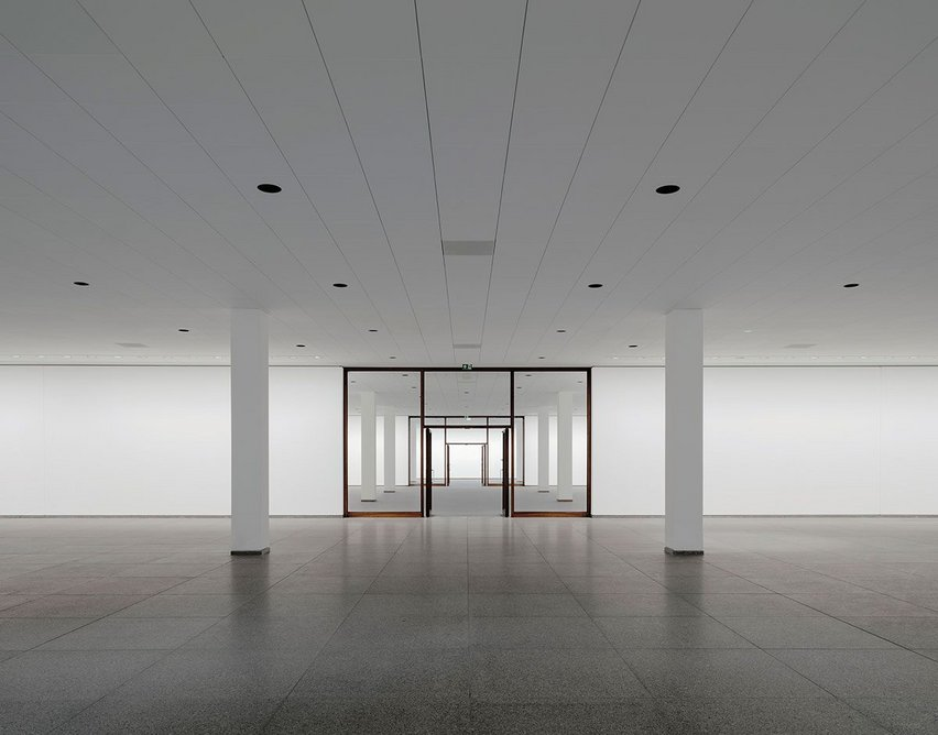 The original grid ran from outside to in and interiors were reinstated like for like. 'Interestingly, anything exhibited there instantly seems transported back to the 60s,' notes Schwarz