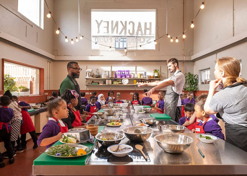The teaching kitchen can accommodate 30 children at adjustable height counters.