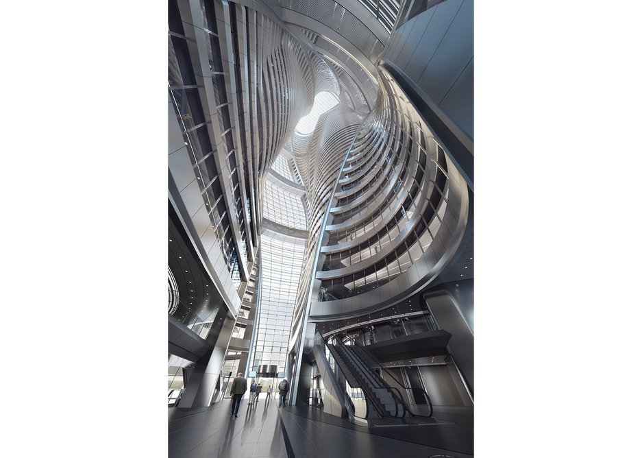 The Leeza SOHO, Beijing, opens up the tower from the inside. Under construction, the atrium represents 'a new adventure' by bringing to realisation a series of atria and to