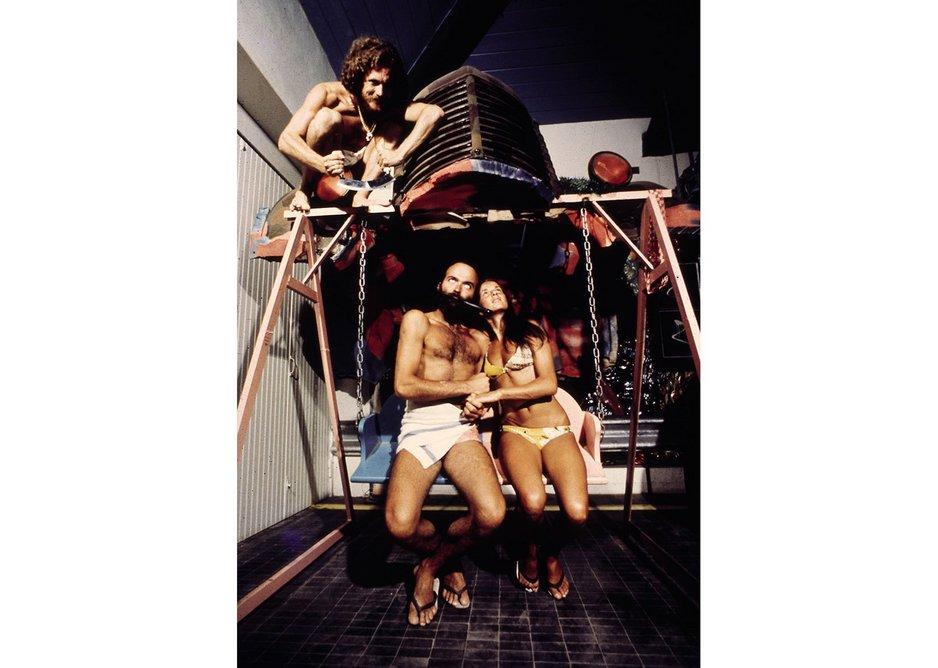 Swing chair at UFO designed Bamba Issa, Forte dei Marmi, 1970.