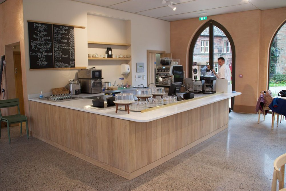 Durasein Silver Falls solid surface material was chosen to create the servery and food preparation area at the Fratry Cafe at Carlisle Cathedral.