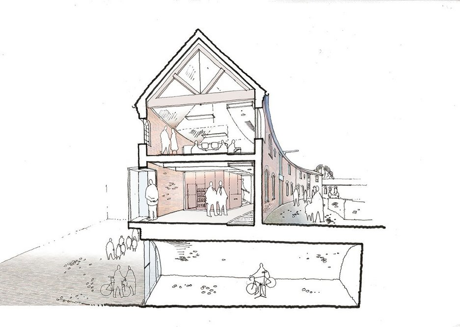 Section through Roundhouse showing new reception, offices above and the bike hire jumping off point next to the canal.