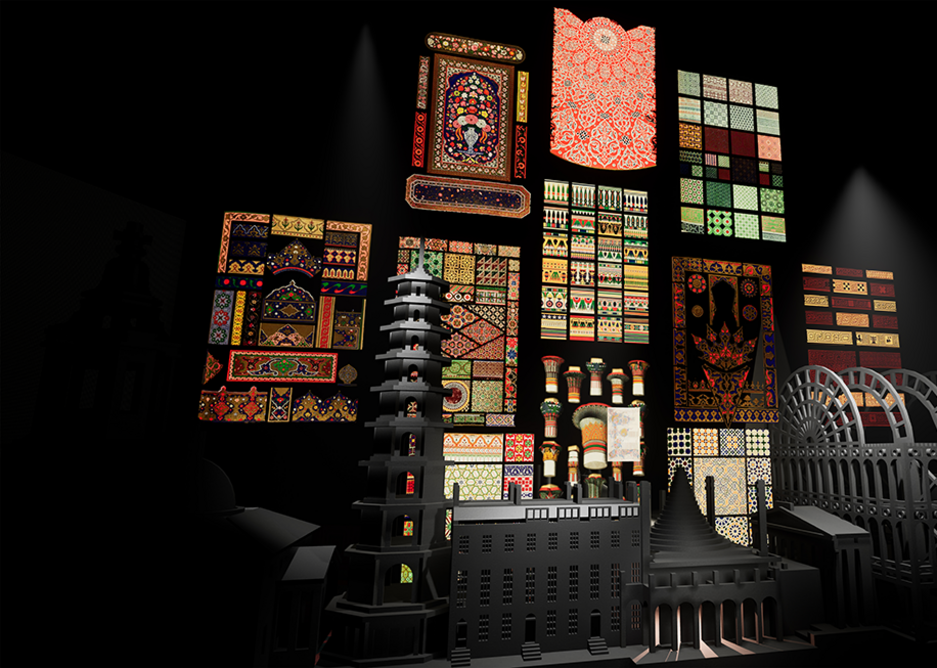 Image of architectural ornament from the virtual reality narrative at the Freestyle exhibition.