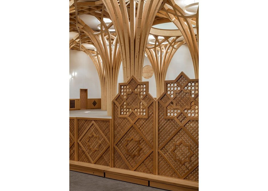 Mashrabiya screens. The mosque aims to tackle the spatial marginalisation of women in mosques head on by placing men and women in the same prayer hall, separated by a screen of varying heights so users can choose their preferred degree of separation.