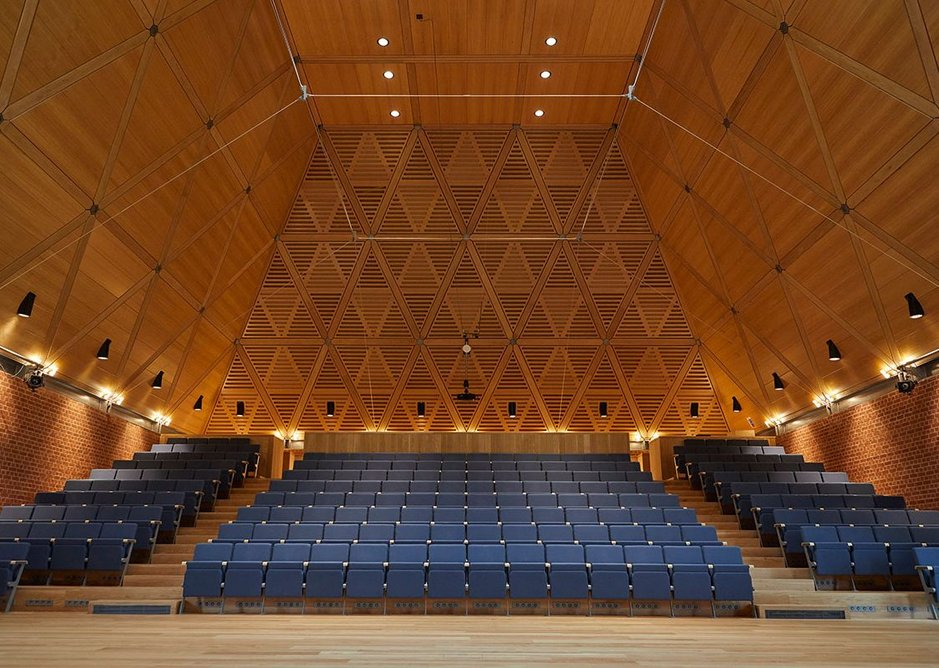 Fixed seating has precisely calculated acoustic absorbency.