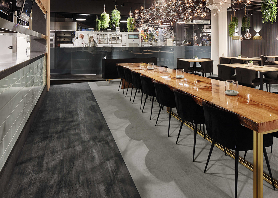 Mixed media: Allura luxury vinyl tiles in Burned Oak and Smoke Cement.