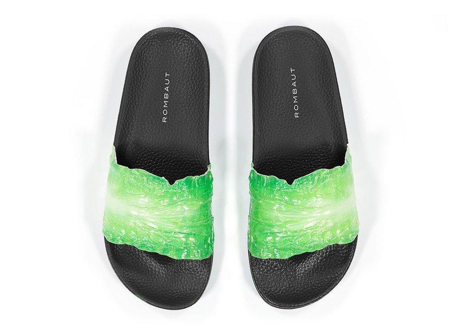 Green Lettuce Slides, vegan flip flops designed by Mats Rombaut.