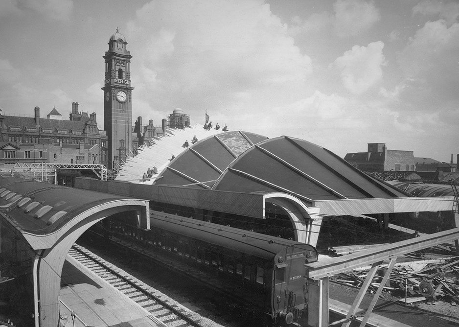 The Oxford Road station timber roof sections under construction.