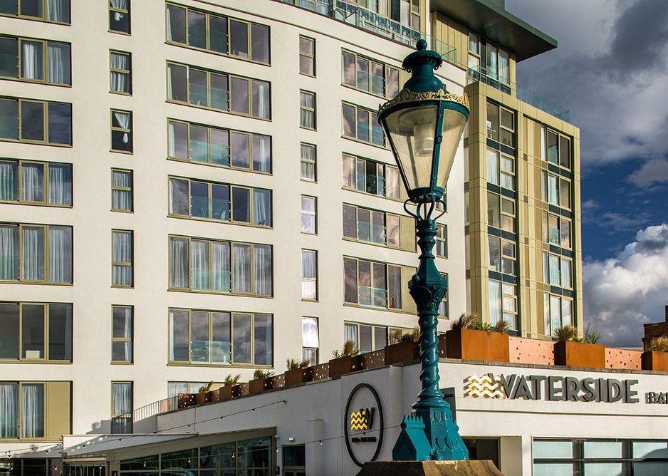 The Waterside Apartments feature Senior's low U-value Pure Slide aluminium doors.