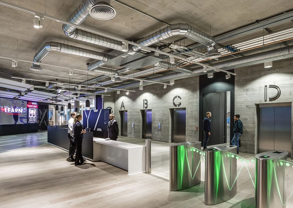 Main ground floor reception of XYZ, designed by Leeds and London practice Cartwright Pickard.