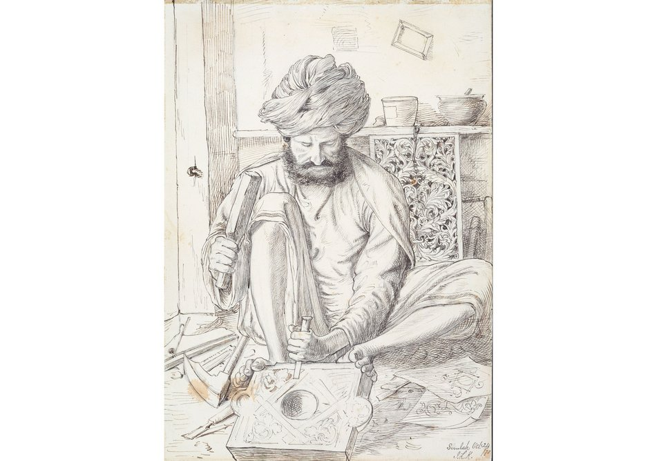 A Wood Carver, from a collection depicting craftsmen of the North-West Provinces of British India, by John Lockwood Kipling, 1870.