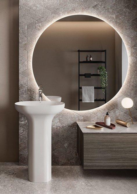 RAK-Des freestanding pedestal washbasin: One-piece minimalist lines.