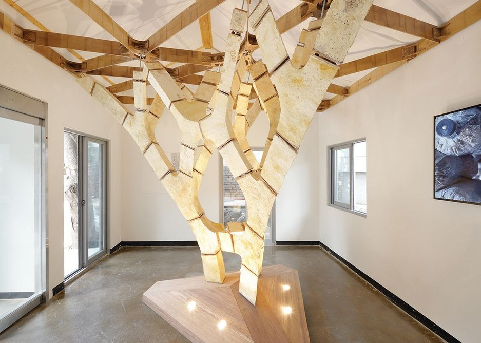 MycoTree, a sustainable building block made from mycelium fungus, designed by Sustainable Construction (Karlsruhe Institute of Technology) and Block Research Group (ETH).