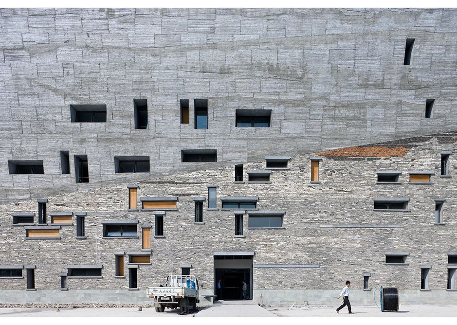 Detail of Ningbo Museum, Zhejiang Province, China, by Amateur Architecture Studio. The building incorporates salvaged material from the villages previously on the site.