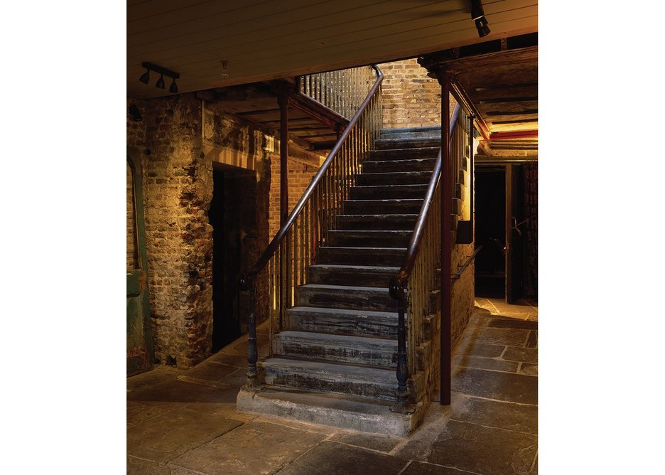 Stone on stone: retained, strengthened stair and mezzanine.