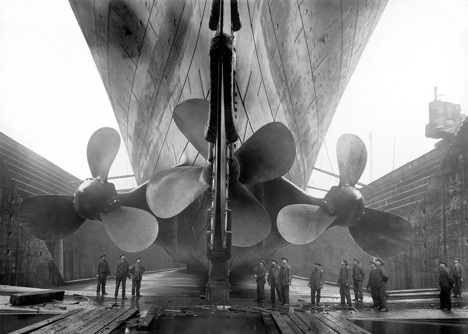 Titanic in dry dock c. 1911. Getty Images from the V&A exhibition Ocean Liners: Speed and Style, 3 February - 17 June 2018.