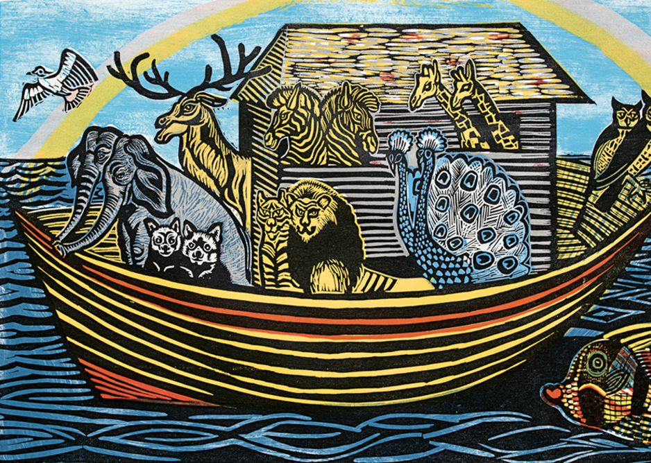 Carried in Comfort linocut in six colours 1955.