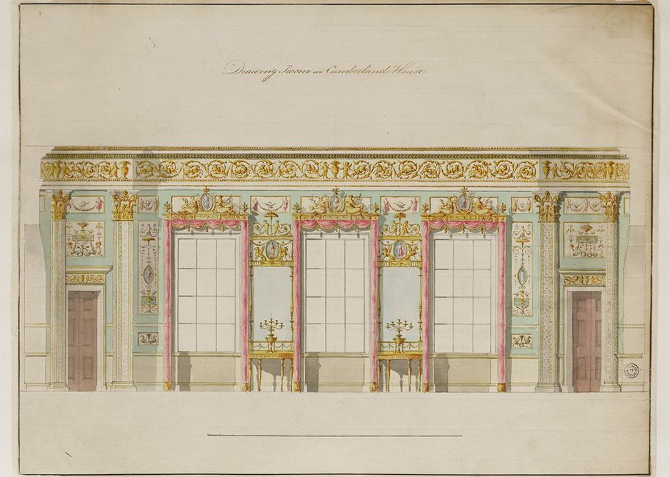 Finished drawing showing the window wall for the unexecuted third drawing room at Cumberland House, 86 Pall Mall, c1780-85.