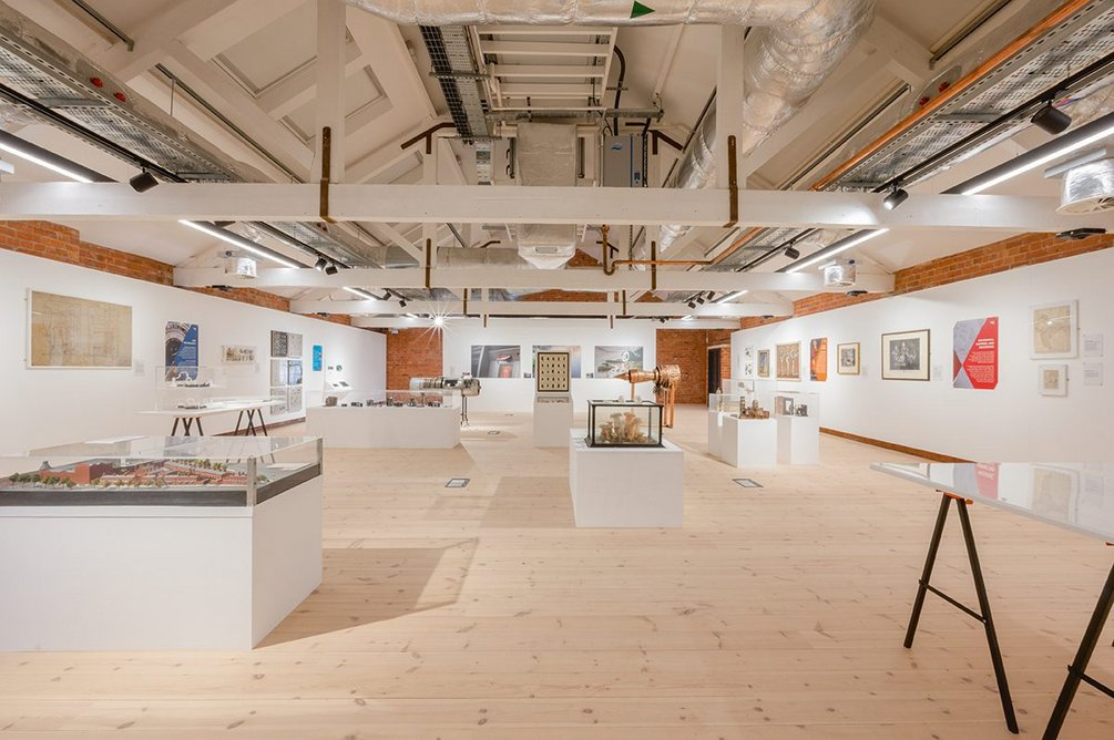 The third floor temporary exhibitions gallery, here in 'black box' mode but able to have its rooflights and windows revealed.