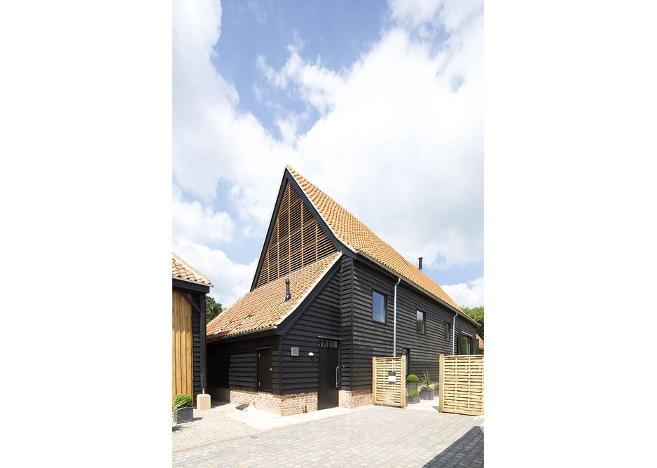 One of the finished barns at Anstey Hall Barns in Trumpington, Cambrdge, as designed by David Miller Architects.