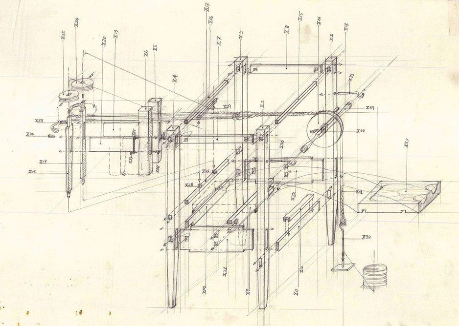 Shin Egashira Beauty of Pain The Duke's Cabinet (technical drawing), 1995.