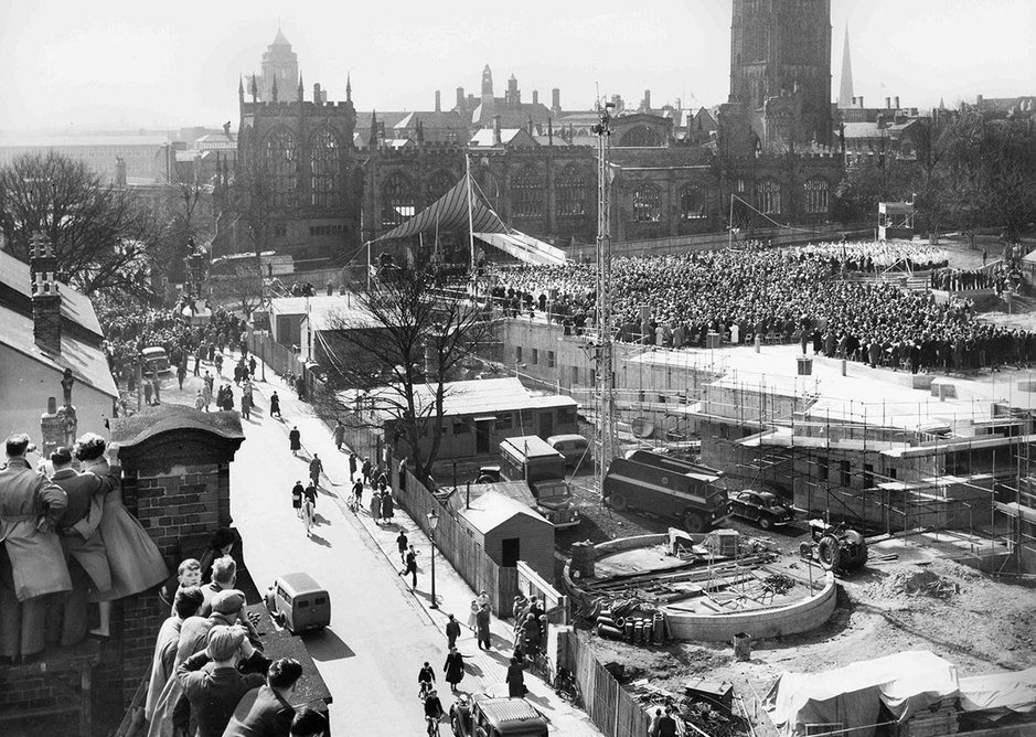 Crowds attend the foundation stone laying ceremony for the new cathedral, Coventry, 1956, from What Remains at the Imperial War Museum London.