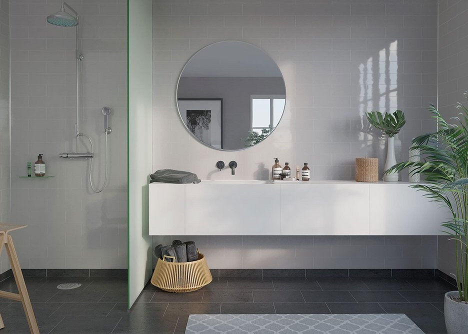 Fibo Metro Brick laminate wall panels in London from the new Urban Collection.