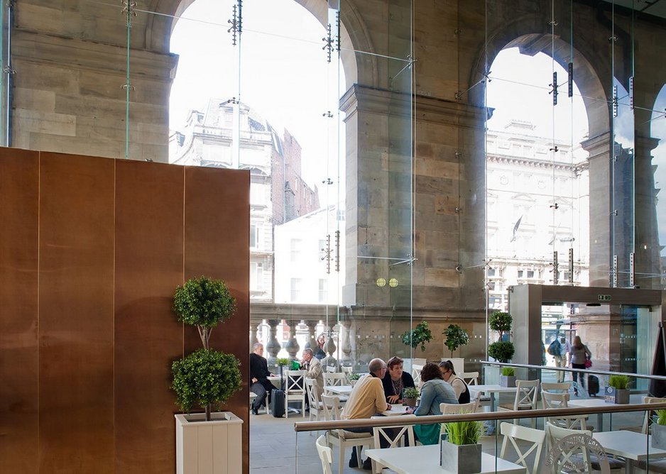 The cafes of the new Portico start to take life.
