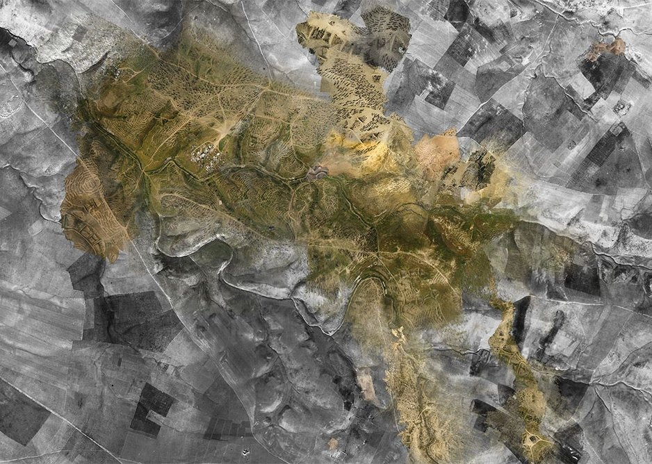 Ground Truth: A composite of Royal Air Force aerial photography from 1945 and 'community satellite' point clouds taken in 2017. From the investigation Destruction and Return in the al-Araqib Negev/Naqab Desert.