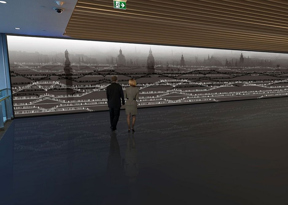 Michal Rovner, artwork commission for Canary Wharf station, preliminary sketch,