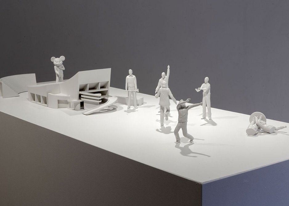 Ala Younis, Plan for Feminist Greater Baghdad exhibition installation view, 2018. This shows figures of key protagonists in the Plan for Greater Baghdad narrative with a model of Le Corbusier's gymnasium in Baghdad.