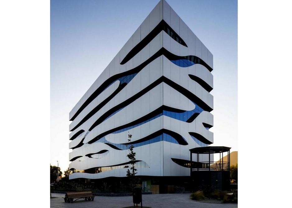 Trespa Meteon cladding in Pure White at the Microsoft Building, Santiago, Chile.