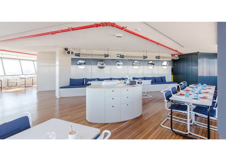 Thonet chairs have been specified as part of Marea Alta's maritime-themed interior in Barcelona.