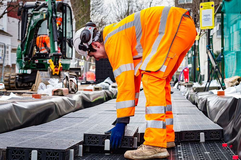 The Permavoid system comprises high strength modular cells suitable for sub-base replacement.