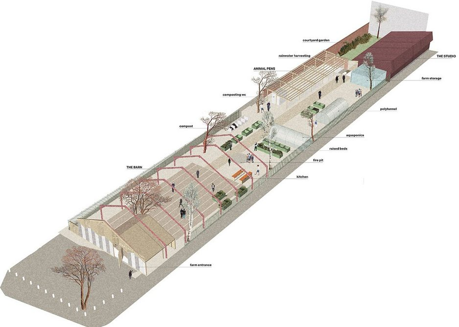 Diagram of the long site showing the barn at one end and garden and practice office at the other with animal pens and growing beds in between. MacEwen Award shortlisted Waterloo City Farm, Lambeth, London by Feilden Fowles Architects.