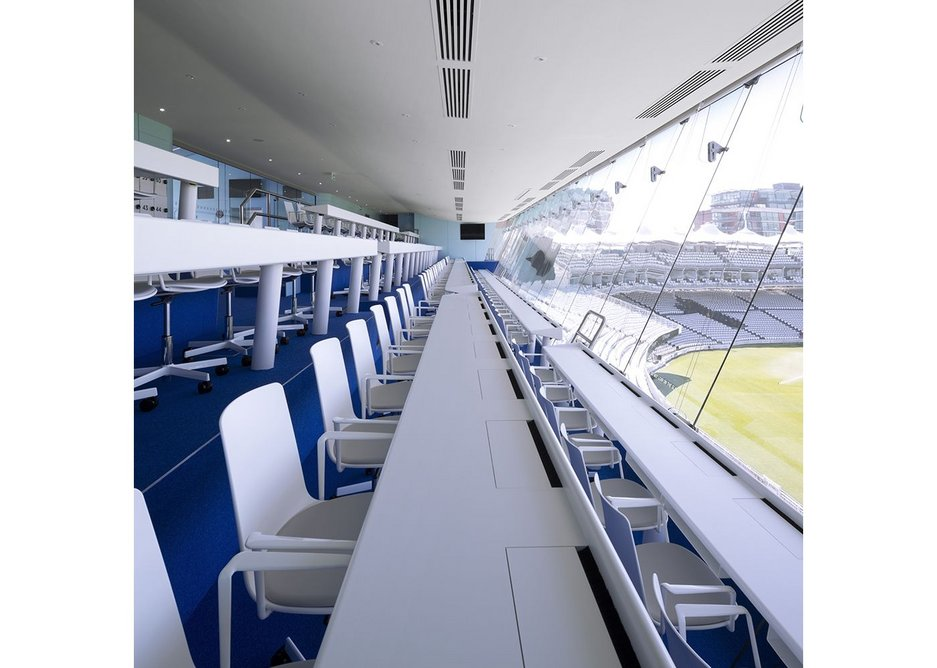 David Miller was appointed for the 2017 refurbishment of the JP Morgan Media Centre at Lord's, having been project architect for the original Stirling prize-winning building while working at Future Systems.