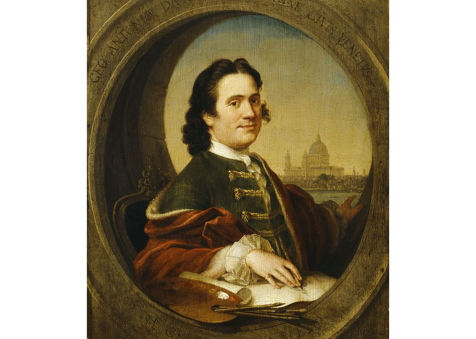 This self-portrait is attributed to Canaletto and shows Saint Paul's behind the painter in 1746.