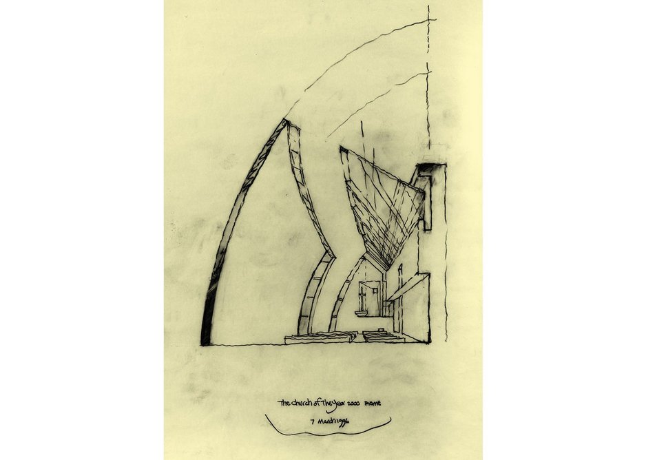 Richard Meier's design for the Jubilee Church, Rome. Frank Stella created designs for the Stations of the Cross for the building, but these were not realized. Courtesy Richard Meier & Partners Architects.