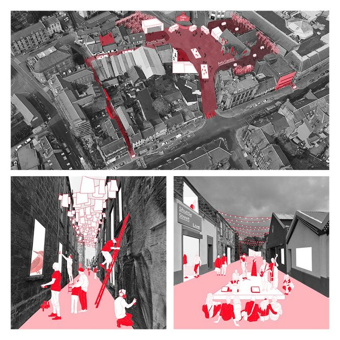 Public realm proposals for Paisley, envisaged by citizen Linzi Clark with Ffion Roberts of 7N Architects as part of What if…?/Scotland. Image Courtesy of 7N Architects