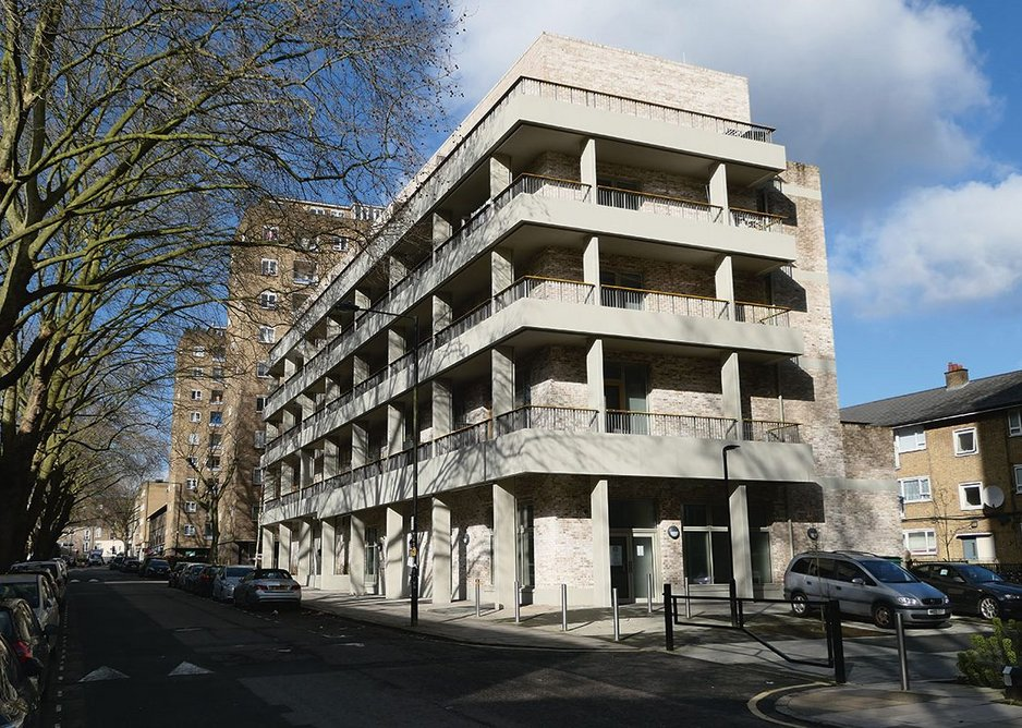 New block on Robert Street by Mae runs its balconies contiguously to create a deck-access effect in response to its 1950s neighbours – and tips its hat to Lasdun's nearby Royal College of Physicians.