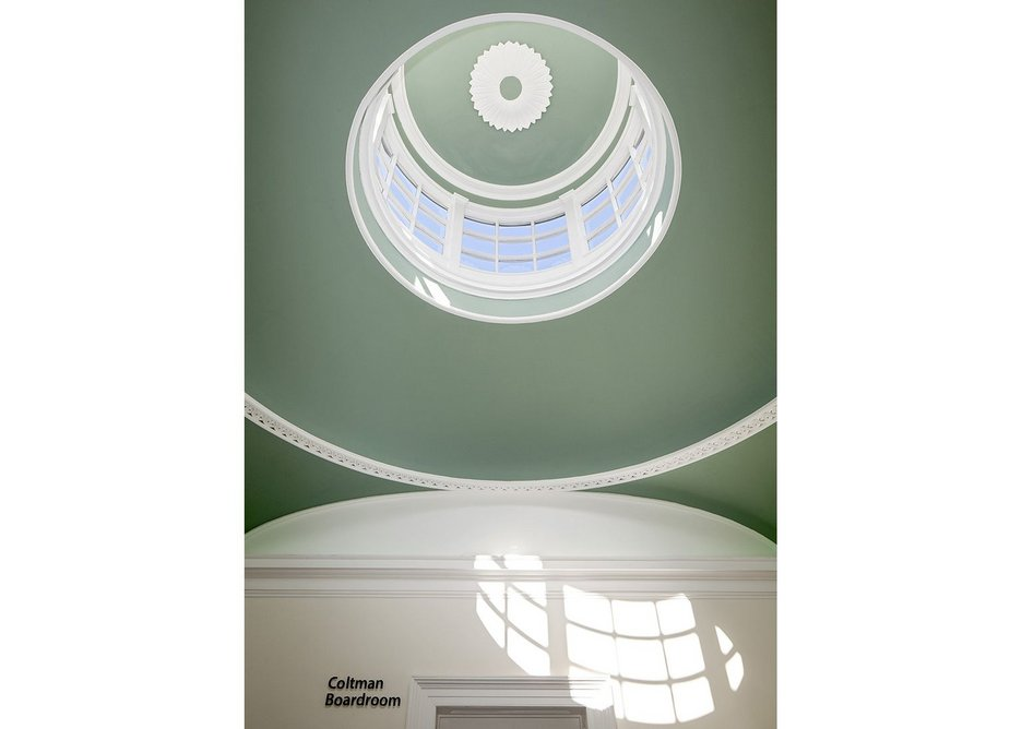 A green dome above the board room.