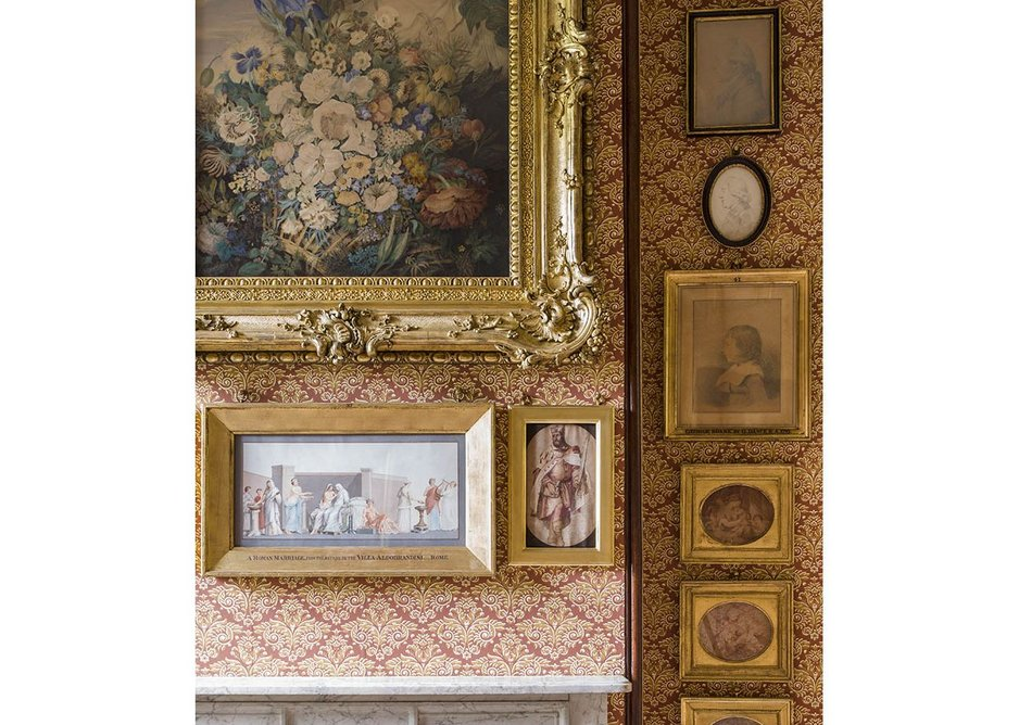 Close up of the picture arrangement on the west wall of Mrs Soane's morning room.