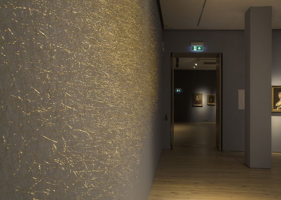 Halo 1 dusts the wall with gold in Susie MacMurray's tribute to Rennaissance art.